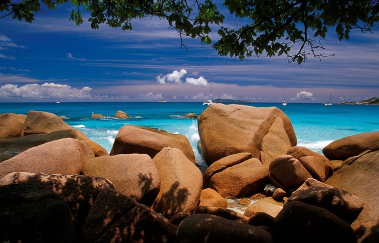 Praslin with Sailboats